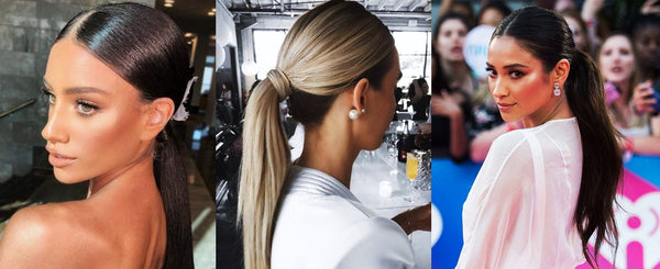 Hair smoothing spray for sleek ponytails