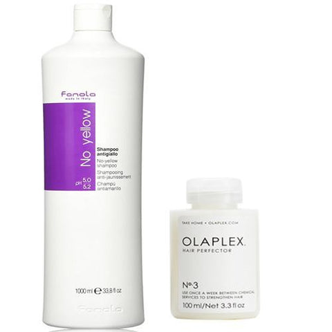 Fanola No Yellow Shampoo 1000ml + Olaplex Hair Perfector No.3 100ml Duo Pack