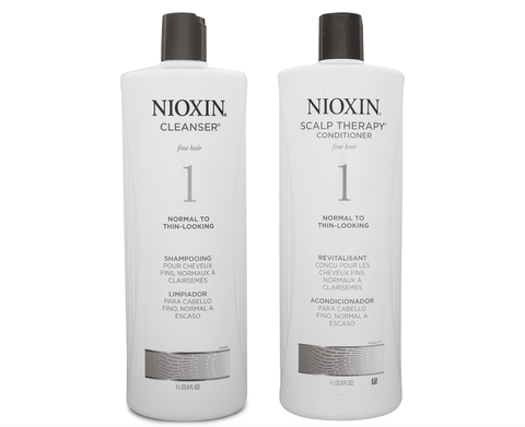 Nioxin System 1 Cleanser Shampoo and Scalp Therapy Conditioner 1000ml Duo Pack