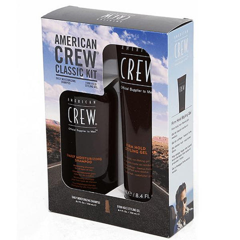 American Crew Classic Kit Daily Moisturising Shampoo and Firm Hold Styling Gel 250ml Duo Pack