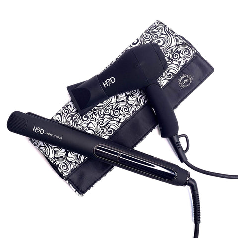 H2D Linear II Matt Black Straightener & Travel Dryer Set