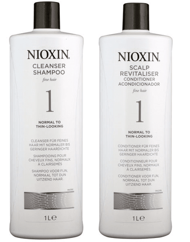 Nioxin System 1 Cleanser Shampoo and Scalp Revitaliser Conditioner 1000ml Duo Pack