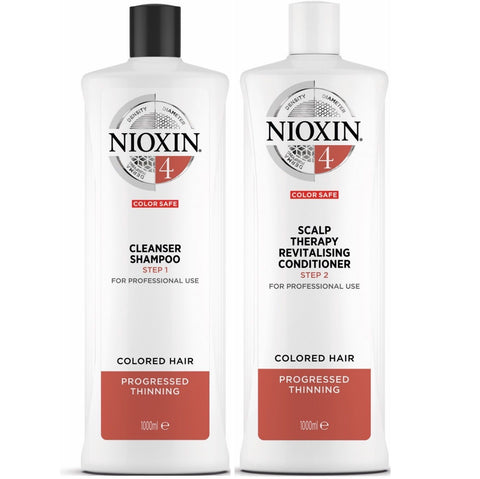 Nioxin System 4 Cleanser Shampoo and Scalp Therapy Revitalising Conditioner 1000ml Duo Pack