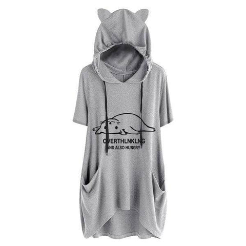 Overthink And Also Hungry - Cat Ears Hoodie - Meowaish