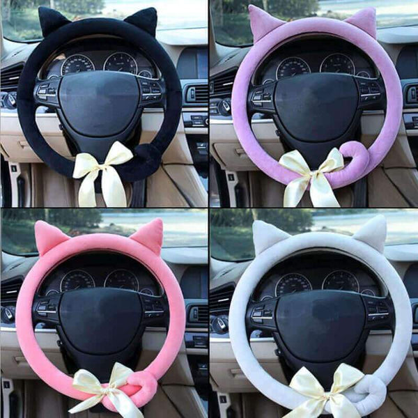 Cat Kitten Steering Wheel Cover with Ears Tails and bow [FREE SHIPPING WORLDWIDE] - Meowaish