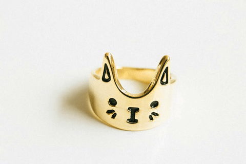Whiskers Crown Cat Ring - Meowaish