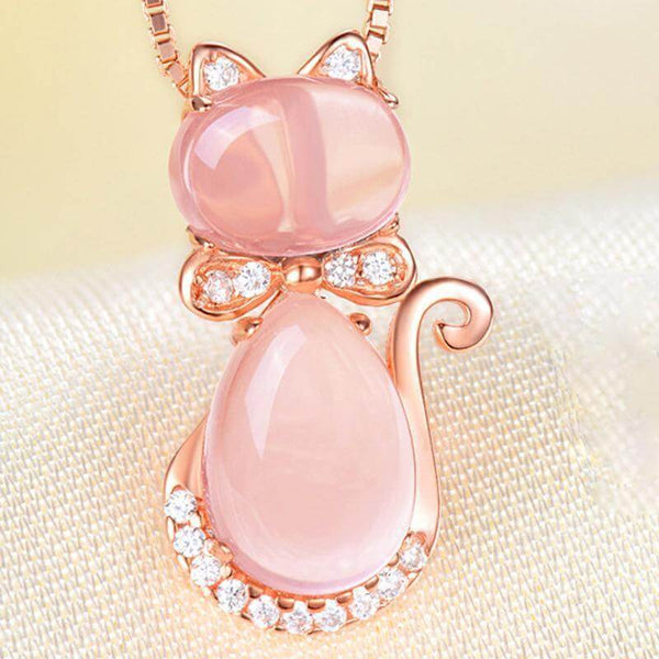 Kitty Rose Quartz Crystal Necklace - Meowaish