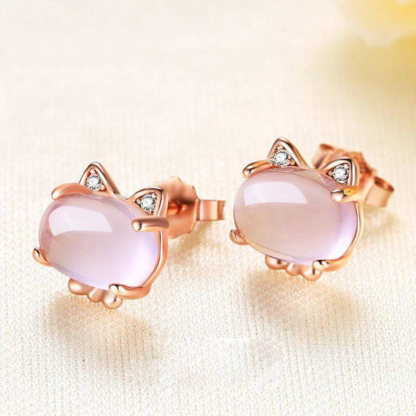 Kitty Rose Quartz Crystal Earrings - Meowaish