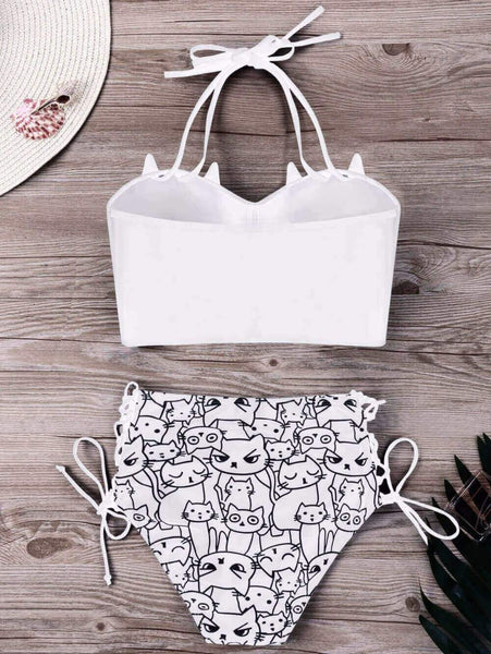 Cute Cat Faces Bikini Swimsuit - Meowaish