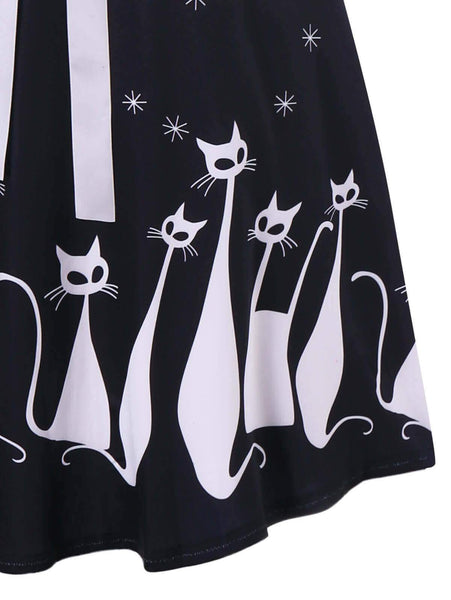 Cute Cat Print Summer Fashion Dress - Meowaish