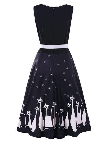Cute Cat Print Summer Fashion Dress [FREE SHIPPING WORLDWIDE TODAY] - Meowaish
