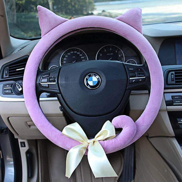 Cat Kitten Steering Wheel Cover with Ears Tails and bow - Meowaish