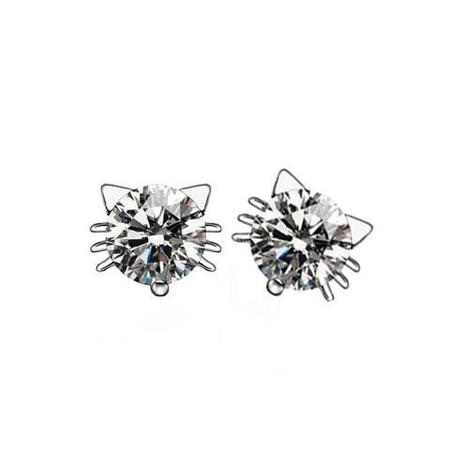 Diamond Crystal Cat Earrings - Meowaish