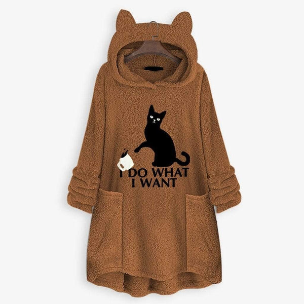 I Do What I Want Fluffy Fleece Cat Ears Hoodie - Meowaish