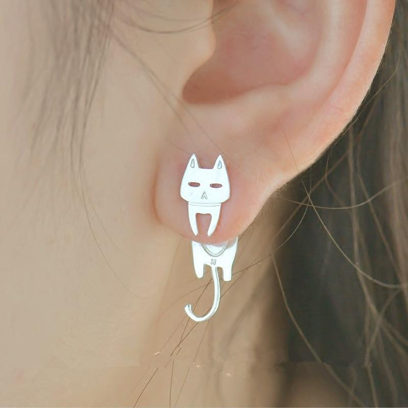 Cat & Fish Silver Stud Earrings - Meowaish