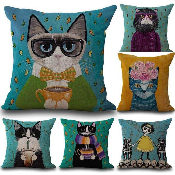 AMAZINGLY ARTFUL CAT PILLOW CASES [50% OFF + FREE SHIPPING TODAY] GETALL6 for Only $49.95! - Meowaish