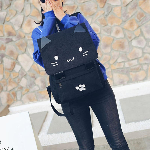 Cute Cat Canvas Backpack - Meowaish