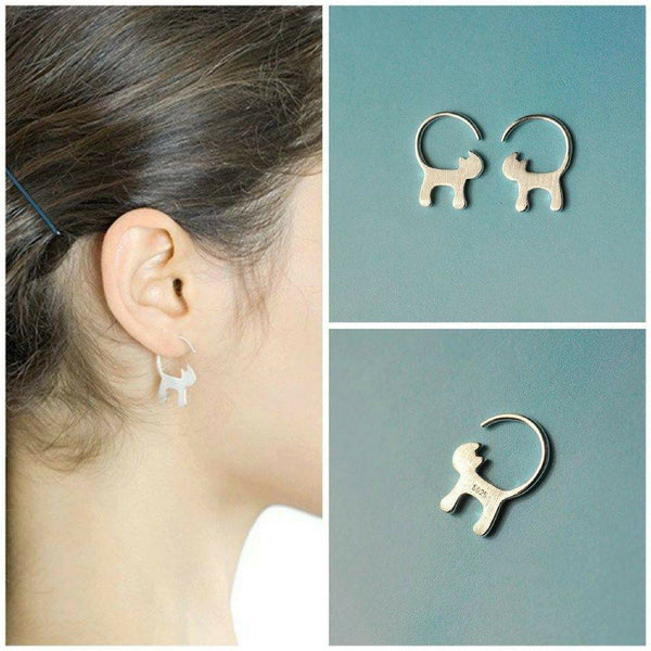 Cute Long Tailed Cat Earrings - Meowaish