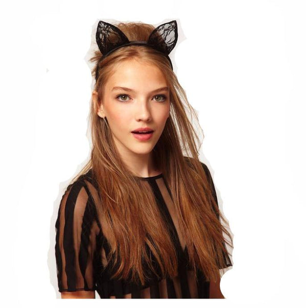 Maison Lace Cat Ears Headband - Meowaish