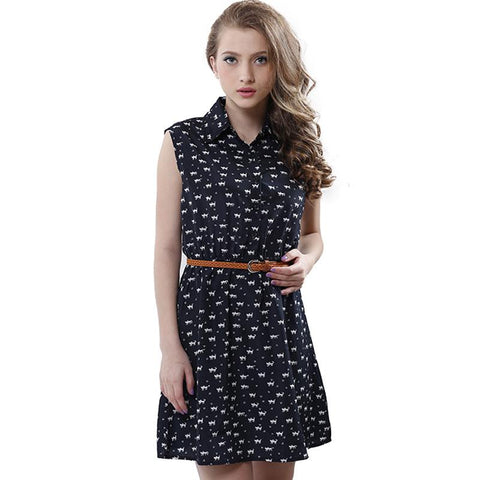 Special Summer Fashion Cat Footprints Pattern Dress - Meowaish
