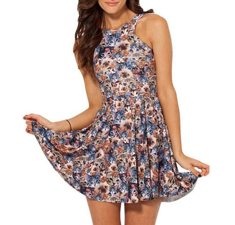 Exclusive Summer Fashion Cat Print Reversible Skater Dress - Meowaish