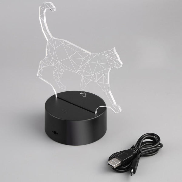 3D WALKING CAT CHANGABLE COLOR LED NIGHTLIGHT - Meowaish