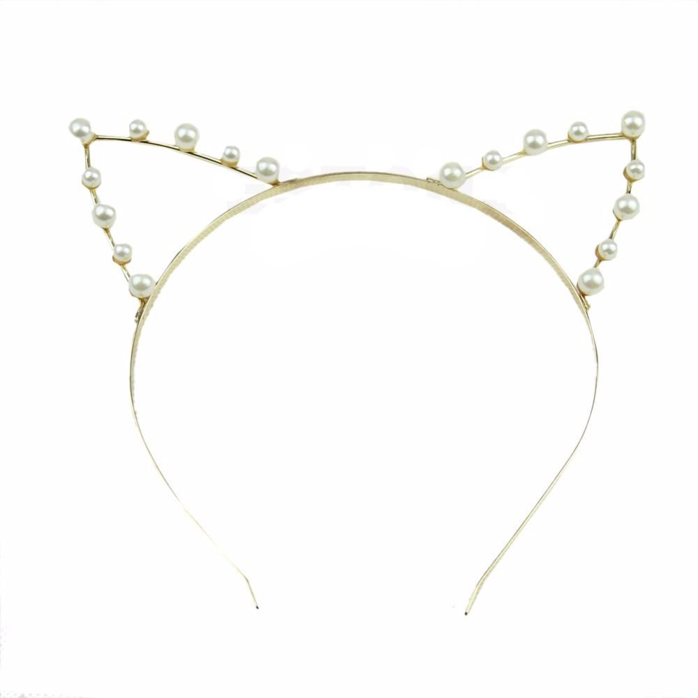 Pearl Cat Ears Gold Headband - Meowaish