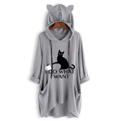 I Do What I Want - Cat Ears Hoodie - Meowaish