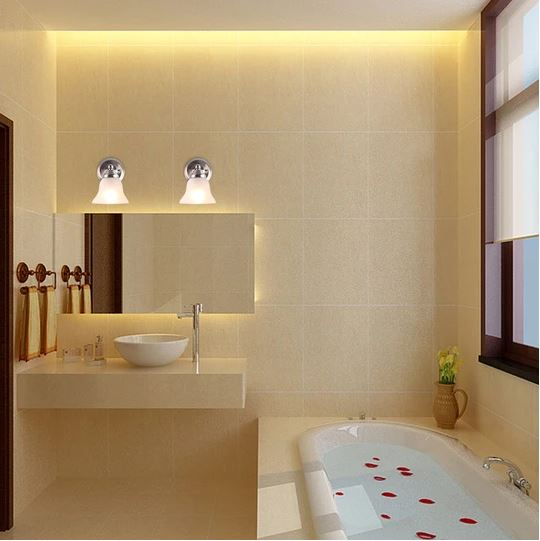 Surround the bathroom mirror with lights