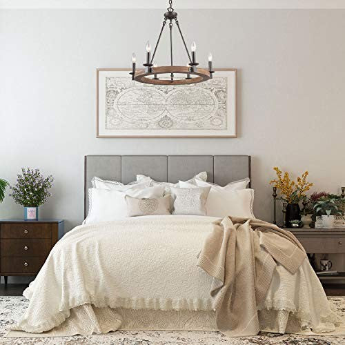 A rustic farmhouse chandelier is perfect in any living room