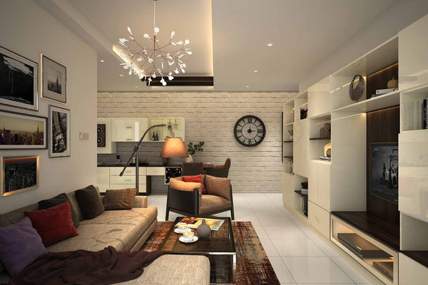 Do not use a single light source to light up your entire living room, but don't go overboard with the lighting as well