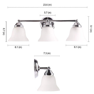 7Pandas 3 Light Bathroom Vanity Light, Interior Wall Sconce Lighting Fixture Frosted Glass Shade, Polished Chrome