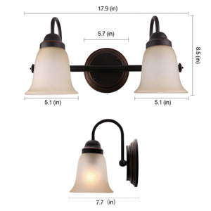 7Pandas Bathroom Vanity Lights Over Mirror, 2 Light Indoor Wall Sconce Lighting Fixture with Amber Sandstone Glass Shade, Oil Rubbed Bronze (ORB), Set of 1