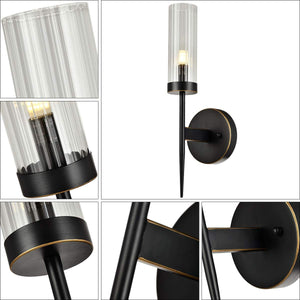 Seattle 1-Light Wall Sconces Light Tube Glass Bronze