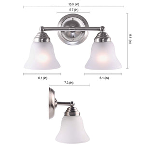 "Poleis 15 9/10"" Wide Brushed Nickel 2-Light Bath Vanity Light"
