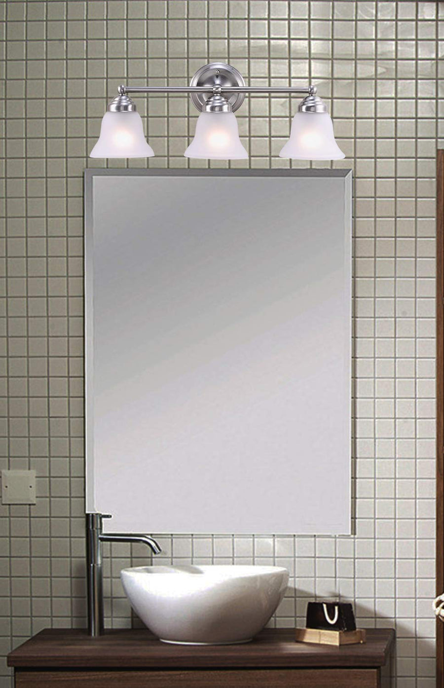 "Leon 23 3/5"" Wide Brushed Nicked 3-Light Bath Vanity Light"