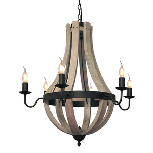 "Bite/6 28-3/10"" Wide 6-Light Wooden Island Chandelier"