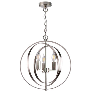"7Pandas 15-7/10"" Orbits Pendant Lighting, 3-Light Globe Chandelier Light for Living Room, Dining Room, Kitchen Island, Brushed Nicke (Satin Nickel)"