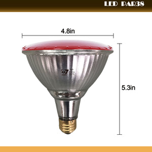 4-Pack Outdoor 14W LED Par38 Flood Light Bulb, Red Light