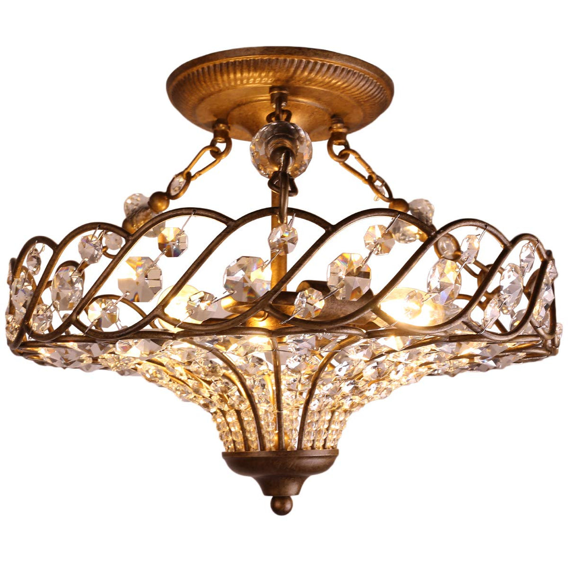 "SCCI 16 1/10"" Wide Antique Brass Crystal Ceiling Light"