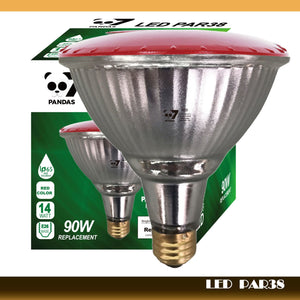 7pandas 4-Pack Outdoor 14W LED Par38 Flood Light Bulb, Red Light