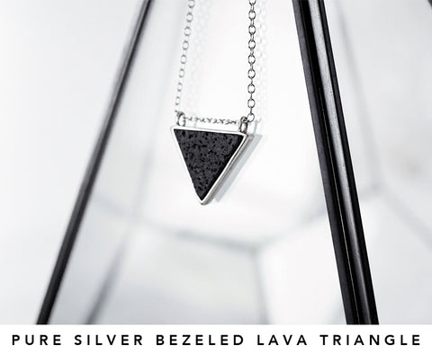 SILVER TRIANGLE NECKLACE, LAVA TRIANGLE, TRIANGLE ESSENTIAL OIL NECKLACE, AROMATHERAPY NECKLACE