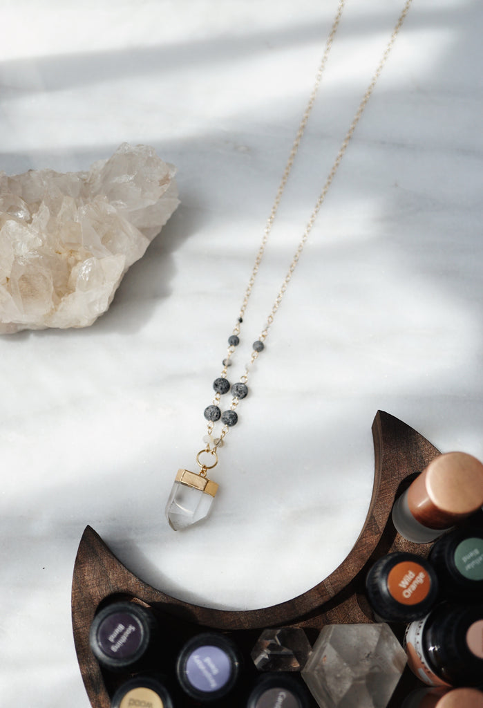 Quartz Gold Lava Aromatherapy Necklace - ONE OF A KIND - Lava Essential Oils