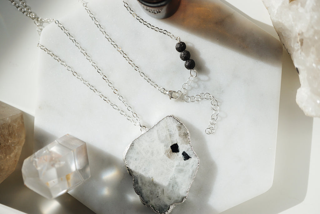 Silver Electroplated Raw Moonstone Aromatherapy Necklace - Lava Essential Oils