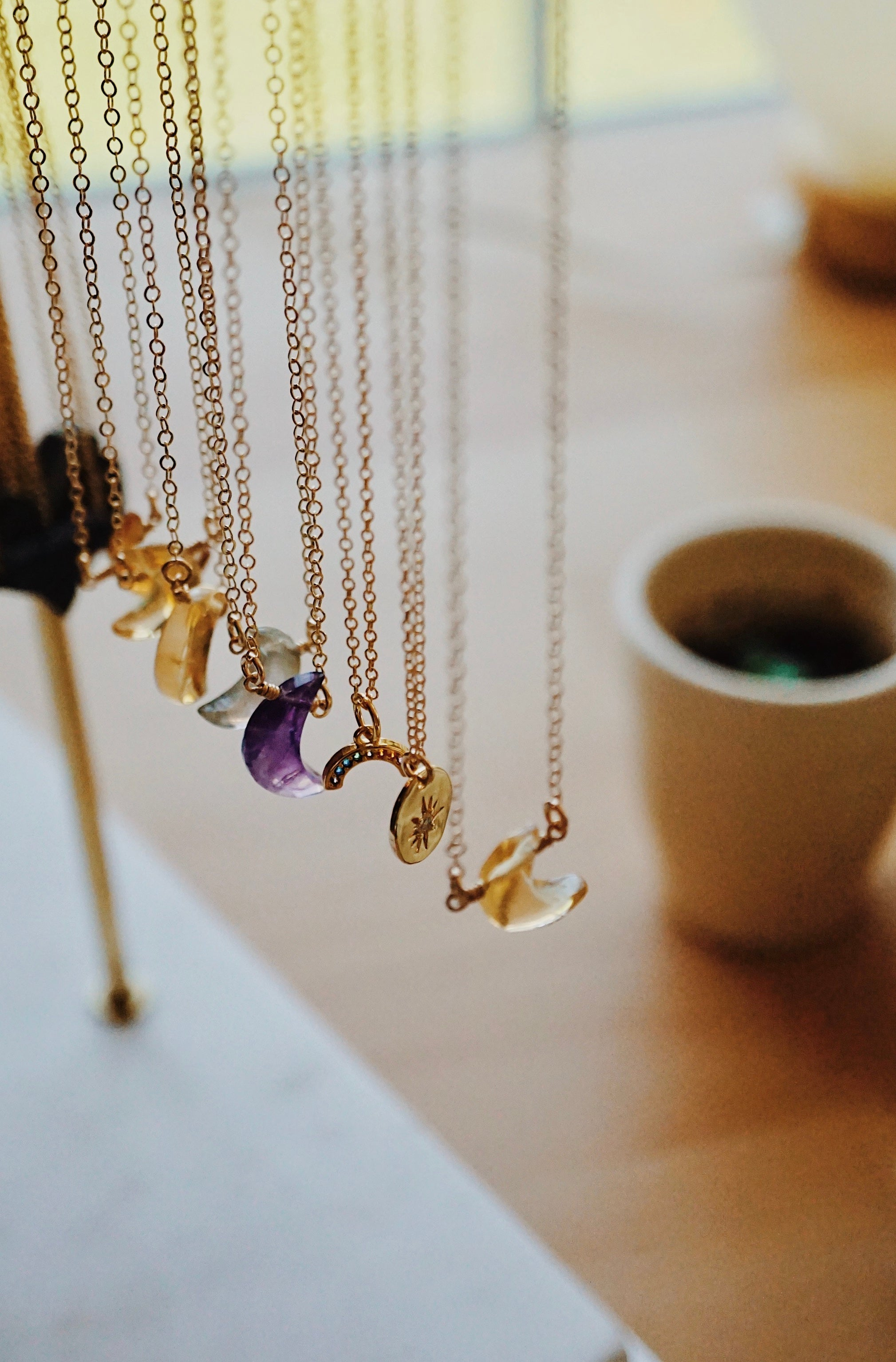 The LUNA ✶ Celestial Collection ✶ Petite Amethyst & Rainbow Moonstone Crescent Moon Necklace + Lava Charm
