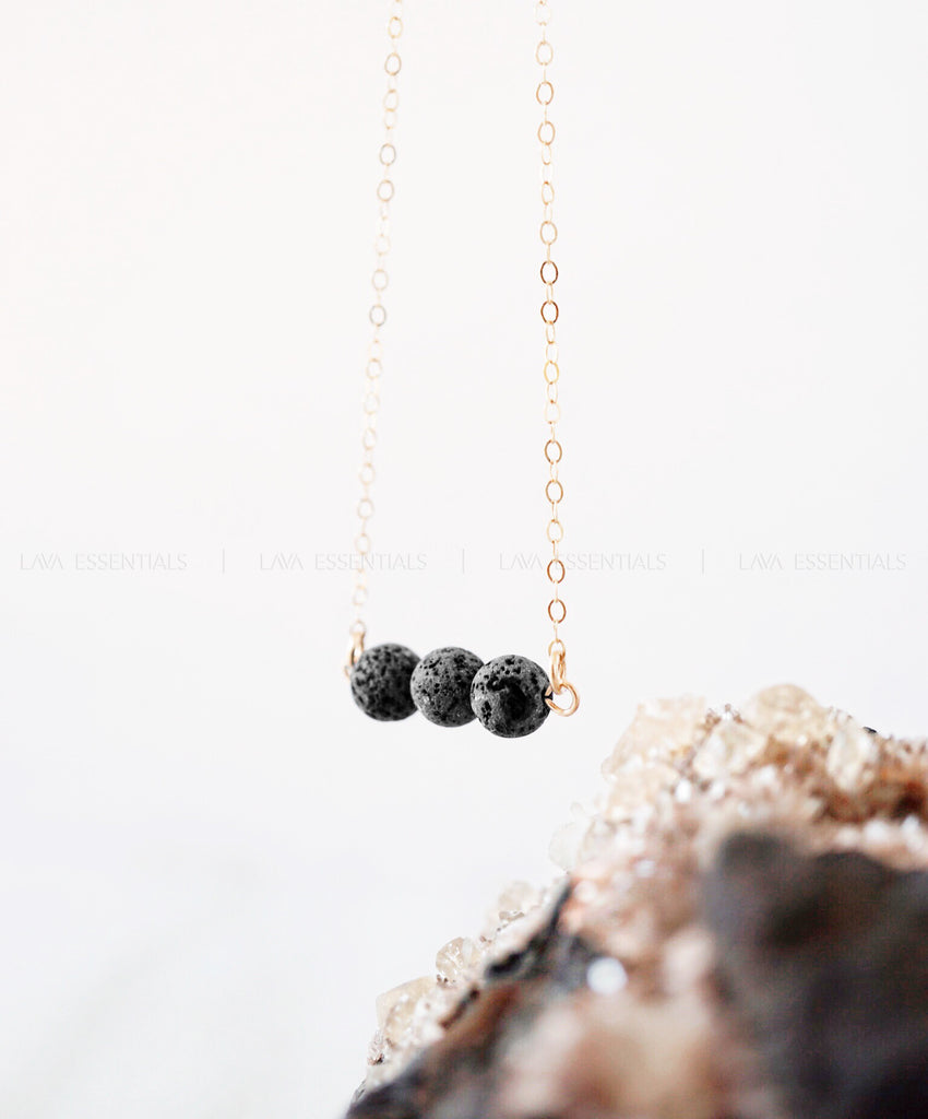 Minimalist Triple Lava Bead Essential Oil Diffuser Necklace [G]+[S] - Lava Essential Oils