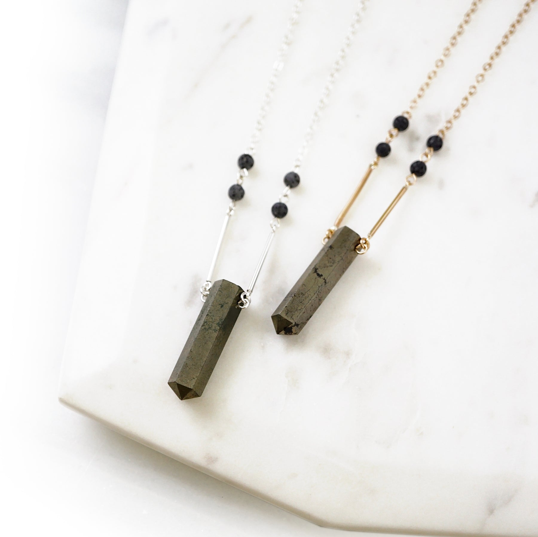 EMF Collection ☼ Pyrite Point & Lava Necklace [G]+[S] - Lava Essential Oils