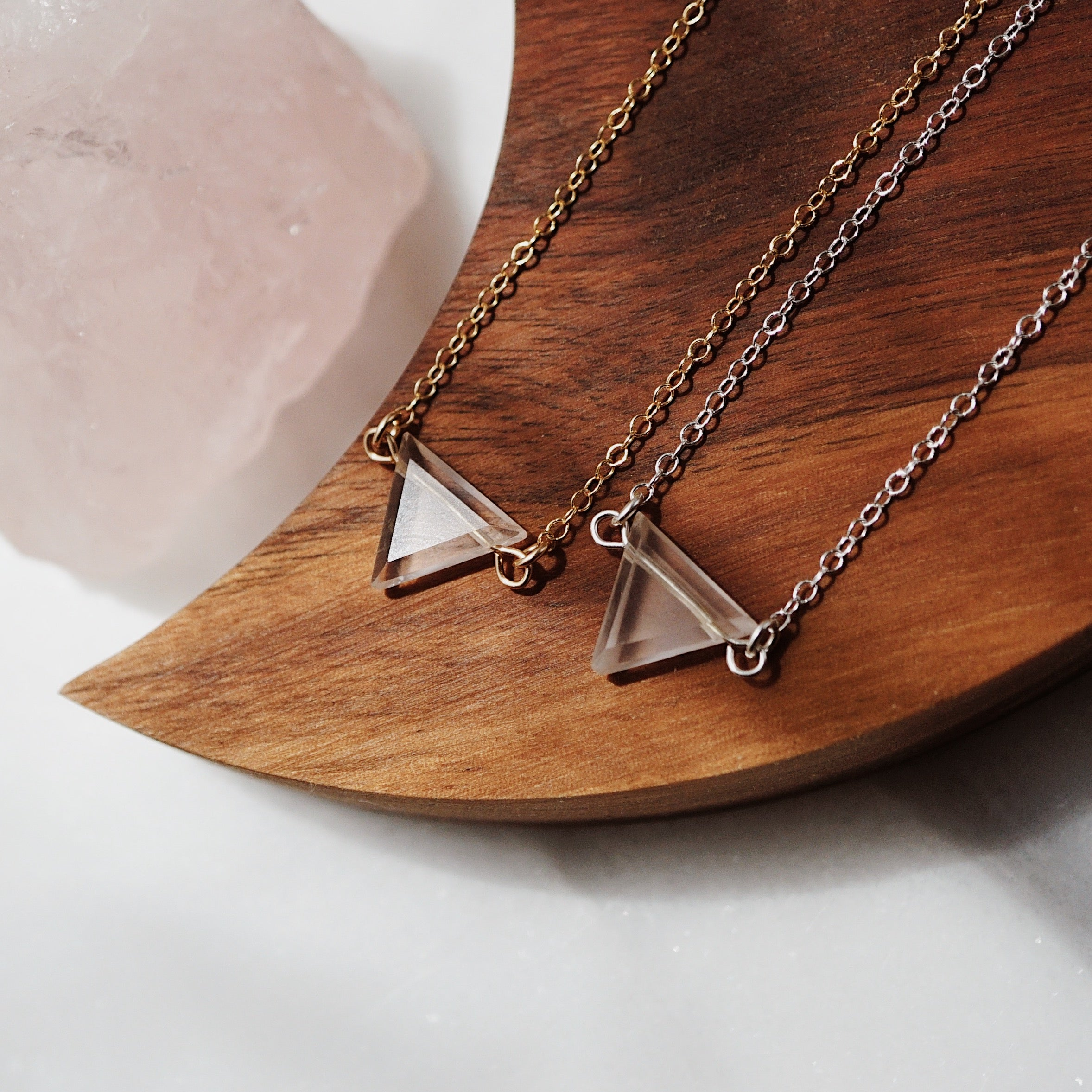 Petite Rose Quartz Triangle Necklace, Natural Lava Extender