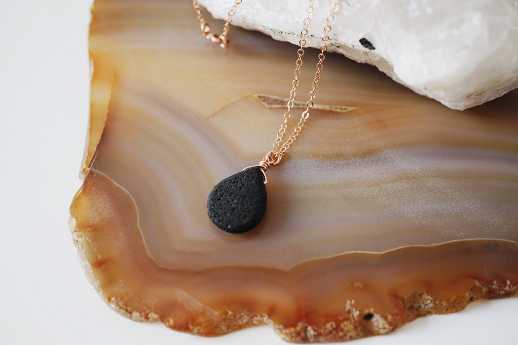 Rose Gold Wire Wrapped Dainty Lava Drop - Lava Essential Oils