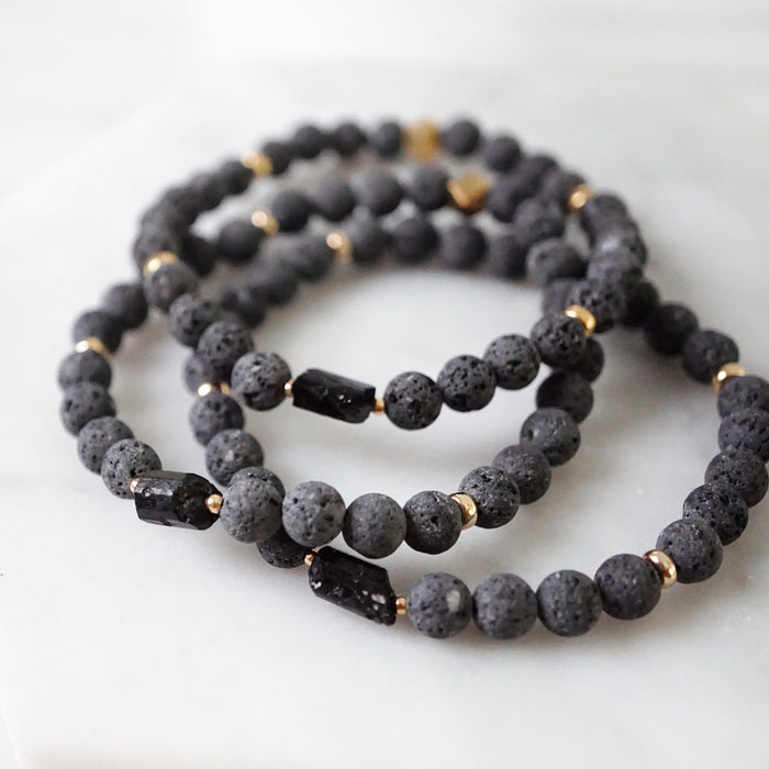 EMF Collection ☼ Black Tourmaline & Lava Stretch Bracelet [G] - Lava Essential Oils